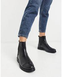 Dune – Flache Chelsea-Stiefel aus schwarzem Leder