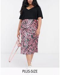 Simply Be Bias Cut Skirt - Pink