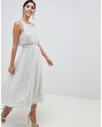 ASOS - Tulle Prom Midi Dress With Delicate Embellished Droplets - Lyst