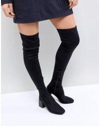 Stradivarius - Over The Knee Block Heel Boot - Lyst