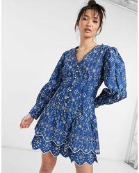 River Island Темно-синее Платье-рубашка Мини С Вышивкой И Объемными Рукавами -голубой - Синий