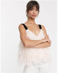 ASOS Feather Cami With Contrast Strap-pink
