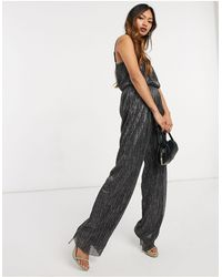 Vero Moda Plisse Jumpsuit With Wide Leg - Metallic