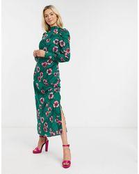 Liquorish Платье Макси С Зеленым Цветочным Принтом -зеленый