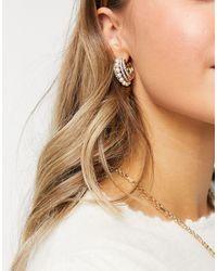 ASOS Hoop Earrings With Pearl Row - Metallic