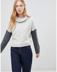 Shae - Contrast Arm High Neck Wool And Cashmere Blend Jumpers - Lyst