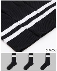 New Look Набор Из 3 Пар Черных Спортивных Носков С Полосками -черный Цвет