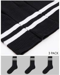 New Look 3 Pack Stripe Sport Socks - Black