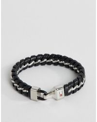 Tommy Hilfiger - Metal Chain & Braided Leather Bracelet In Black - Lyst