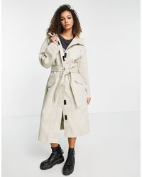 ASOS Hooded Trench Coat - Natural