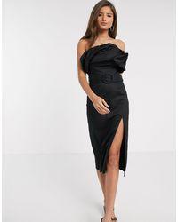 River Island Bardot Belted Midi Pencil Dress - Black