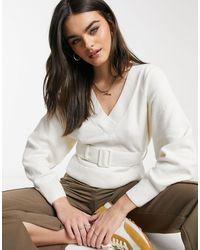 & Other Stories Maglione bianco sporco con maniche a palloncino e cintura