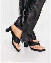 Bershka Padded Low Heel Thong Sandal - Black