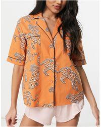 River Island – Pyjamahemd aus Jacquard - Orange