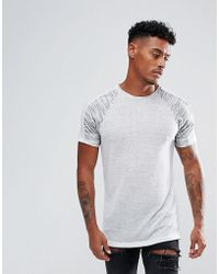 ASOS - T-shirt In Linen Look Fabric With Contrast Panels - Lyst