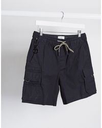 Pull&Bear – Join Life – Cargo-Shorts - Schwarz