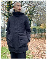 Calvin Klein Черная Парка Из Парусиновой Ткани Премиум-класса С Капюшоном Из Искусственного Меха -черный