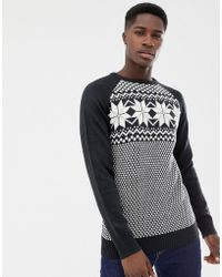 Another Influence Fairisle Knit Sweater - Blue