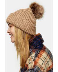TOPSHOP Bobble Hat With Faux Fur Pom Pom - Multicolor