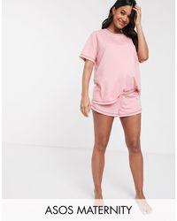 ASOS Asos Design Maternity Mix & Match Jersey Pyjama Short With Overlock - Pink