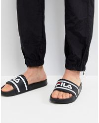 Fila - Morro Bay Logo Sliders In Black - Lyst
