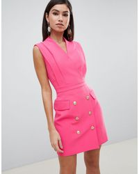 Forever Unique Sleeveless Tux Dress - Pink