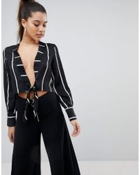 PRETTYLITTLETHING   Tie Front Stripe Cropped Blouse   Lyst