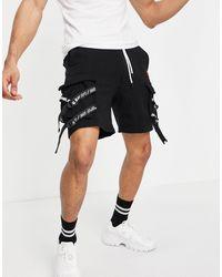 Bershka Jersey Cargo Shorts - Black