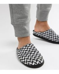 ASOS - Slip On Slippers In Black And White Diagonal Checkerboard - Lyst