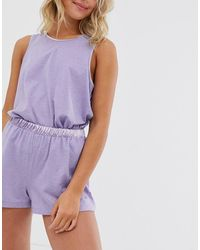 ASOS Mix & Match Fluted Short With Satin Detail - Purple
