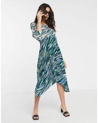 Closet Closet Wrap Midi Dress With Puff Sleve - Green