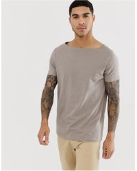 ASOS Relaxed T-shirt With Boat Neck In Beige - Natural