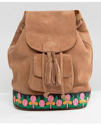Park Lane Suede Festival Backpack With Embroidery - Brown