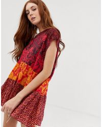 Free People Gotta Have You Mixed Floral Tunic Top - Red