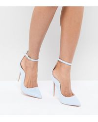 Lost Ink Pale Ankle Strap Court Shoes - Blue