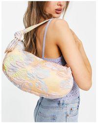 Hvisk Vegan Moon Shoulder Bag With Knot Handle Detail - Blue