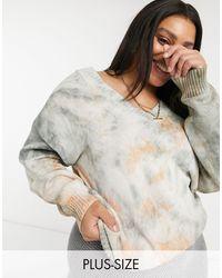 Skylar Rose Plus Relaxed V-neck Knitted Jumper - Grey