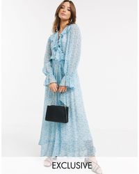 Ghost Exclusive Su Floral Print Georgette Wrap Maxi Dress With Ruffle - Blue