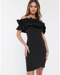 River Island Off Shoulder Dress With Ruffles - Black