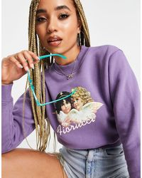 Fiorucci Cropped Sweatshirt With Angel Graphic - Purple