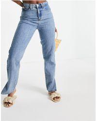 Lost Ink - Jeans a vita alta con spacco sul fondo, lavaggio vintage - Lyst