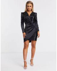 AX Paris Черное Атласное Платье Мини С Длинными Рукавами -черный