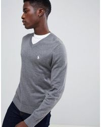 ef074f0bb04 Core Icon Logo V-neck Knit Jumper In Grey Marl - Gray