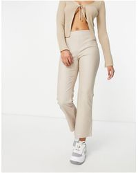 Vila Faux Leather Flared Cropped Trousers - Brown