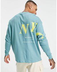ASOS Camiseta verde extragrande - Azul