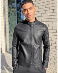 Jack & Jones Essentials - Blouson style motard en imitation cuir - Noir