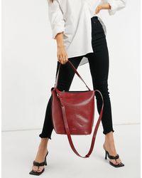 Reiss Hudson Leather Mini Bucket Bag - Grey