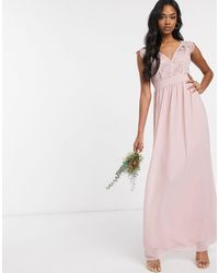 TFNC London Bridesmaid Lace Plunge Maxi Dress With Scaloped Back - Pink