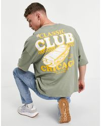 ASOS - Camiseta caqui extragrande con estampado - Lyst