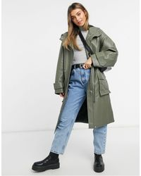 ASOS Leather Look Oversized Parka With Quilted Lining - Green